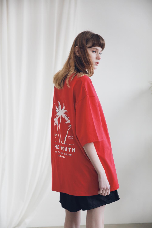 아더로브(ARDOROBE) 유니섹스 팜트리 티셔츠 ATS191002-BK